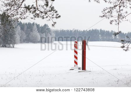 Boundary Pillars Of Belarus And Poland On The Border