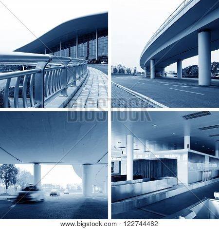 Blue-hued Chinese airport terminals, viaducts, terminals and port security