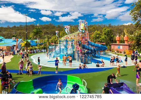 GOLD COAST, AUS - MAR 20 2016: Junior section of Wet'n'Wild Gold Coast water park, Queensland, Australia