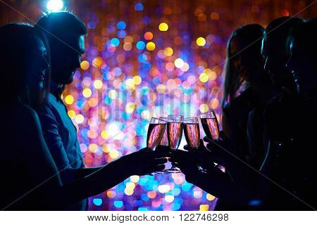 Toasting at party