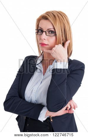 Call Us Gesture Made By Business Woman