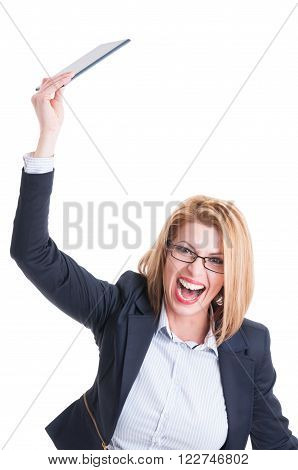 Business Woman Throwing Tablet