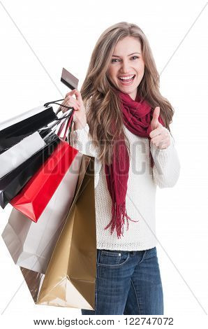 Shopping Lady Showing Thumbsup