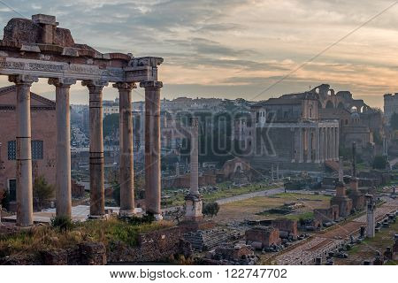 Rome, Italy: The Roman Forum, Latin: Forum Romanum, Italian: Foro Romano, in the sunrise. Old Town of the city