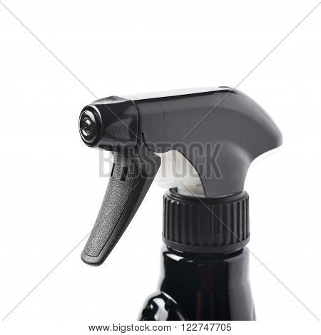 Black plastic sprayer pulverizer isolated over the white background