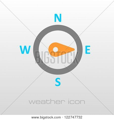 Compass wind rose outline icon. Direction east. Meteorology. Weather. Vector illustration eps 10