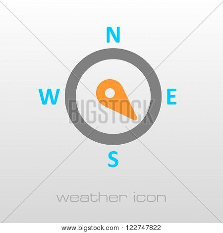 Compass wind rose outline icon. Direction southeast. Meteorology. Weather. Vector illustration eps 10