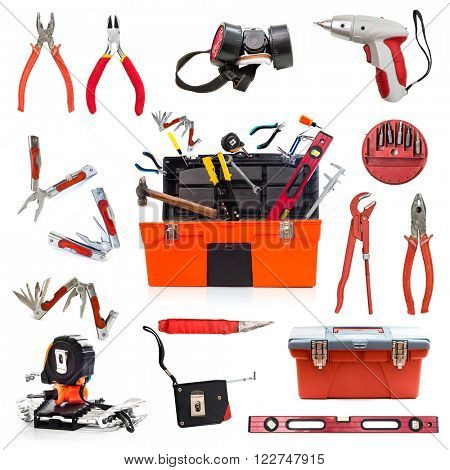 building tools collage isolated on white background