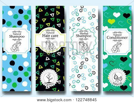 Vector set of seamless patterns, labels and logo design templates for natural herbal shampoo packaging and wrapping paper.