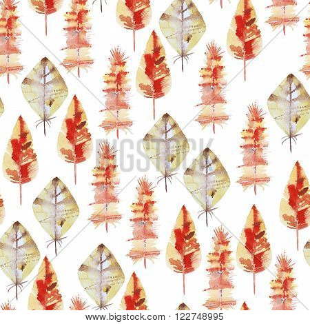 Seamless watercolor pattern with red feathers and autumn leaf. Vintage seamless pattern with feathers. Watercolor paint. Feathers pattern for wallpaper design. Watercolor seamless background.