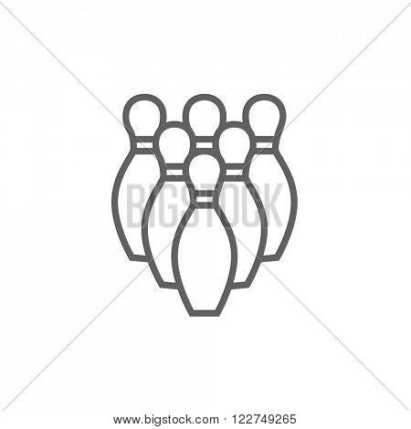 Bowling pins line icon.