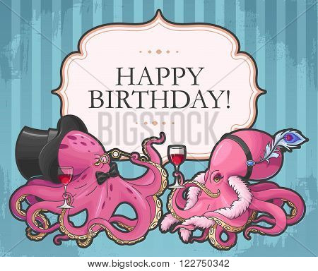 Vector retro birthday card with two funny octopuses