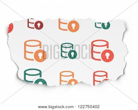 Programming concept: Database With Lock icons on Torn Paper background