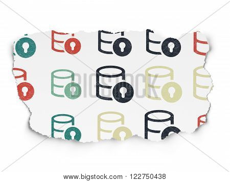 Database concept: Database With Lock icons on Torn Paper background