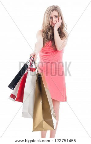 Dissapointed Shopping Young Woman