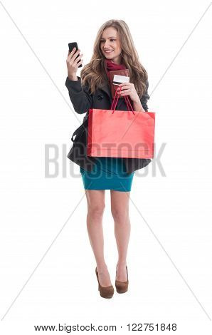 Shoping Lady Checking Her Smartphone