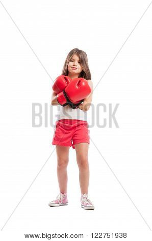 Young Boxer Girl Standing