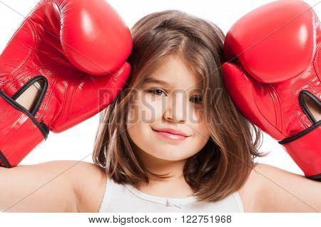 Closeup Of A Cute Boxing Girl