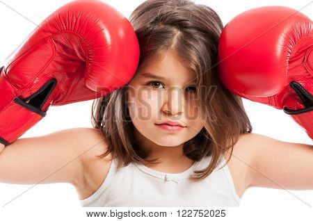 Young Boxing Girl Acting Angry