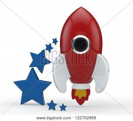 3D render of a symbolic rocket with six blue stars on its left. The rocket is painted in red and has white wings and red and yellow flames from its thrusters. All elements are isolated on white.