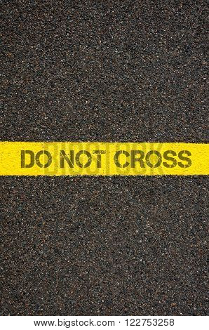 Road Marking Yellow Line With Words Do Not Cross