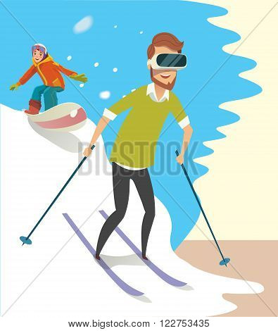 Man playing a Virtual Reality game Skiing. Enjoying a 3d experience at home with a vr headset. Virtual reality gadget to use. Vector illustration