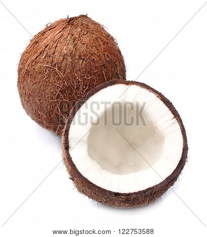 Coconuts closeup on a white background .