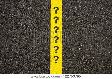 Road Marking Yellow Line With Question Marks