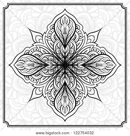 Vector abstact black and white mandala pattern.