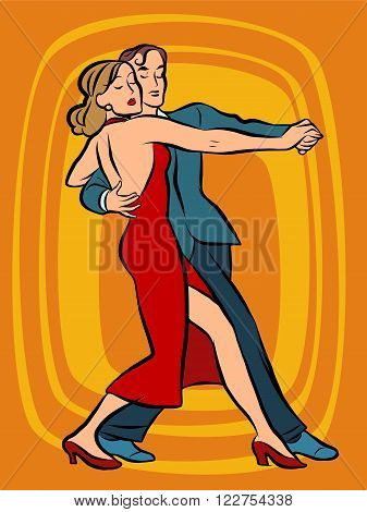 Couple dancing tango pop art retro vector. Art, hobby and music. Man and woman dancing. Dancers. Concert performance evening