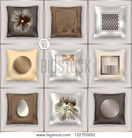 3D set of silk cushions in the milk-chocolate tones with surround pattern. Elements for design. Vector EPS10 comfortable editing.