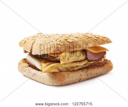 Home made sandwich with a white bread bun, isolated over the white background