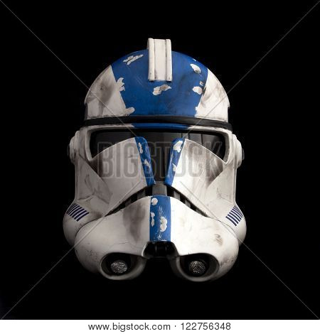 BLOOMFIELD, NJ - MARCH 20, 2016: Studio image of a Star Wars Phase II Clone 501st Legion 'Vader's Fist' helmet on black background.
