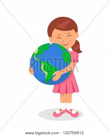 The child and the Earth: Little girl hugging the earth on a white background. The design concept of Earth Day. Love for the Earth and care for the environment.