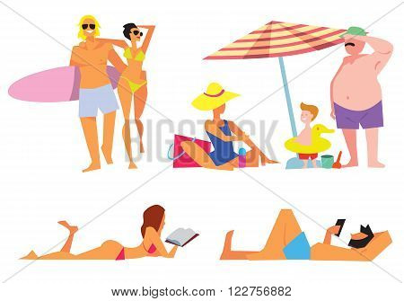 People on beach vector isolated. Sexy girl on beach. Family on beach. Young couple on beach. Different people on white background.