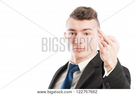 Business Man Showing The Middle Finger
