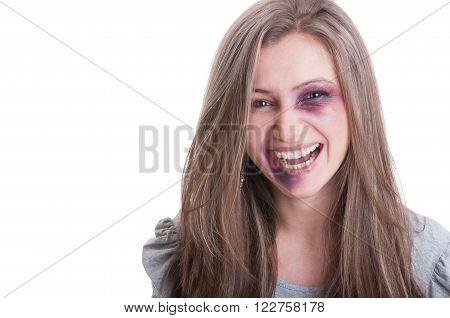 Beaten Woman Laughing