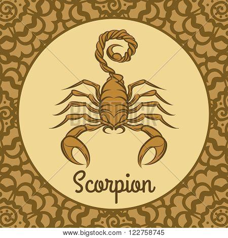 Scorpion label icon. Vector hand drawn scorpion logo template