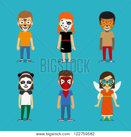 Children and Face painting Party. Kids with painted faces. Tiger mask and panda face, butterfly on face and dalmatians coloring. Vector illustration