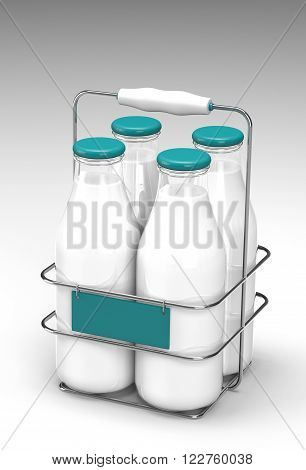 Four glass bottles of milk with light blue caps in a metal carrying case with holder and a display on front on white background