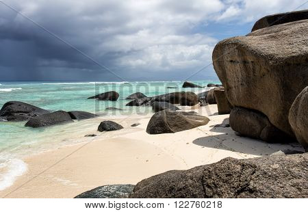 Beach with granite boulders on Silhouette Island,  Seychelles