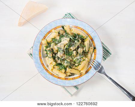 Closeup of rigatoni pasta with onion arugula and chia seeds