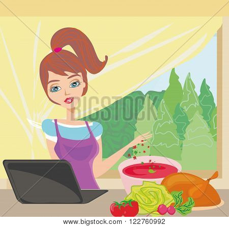 housewife looking in laptop during cooking soup at home kitchen , vector illustration