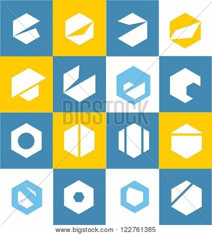Vector company logo icon element template flat set geometric geometry polygon hexagon simple