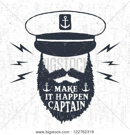 Hand drawn textured vintage label retro badge with captain vector illustration and
