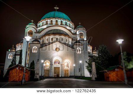 St. Sava Cathedral at night. Belgrade Serbia.