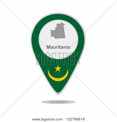A pointer with map and flag of Mauritania