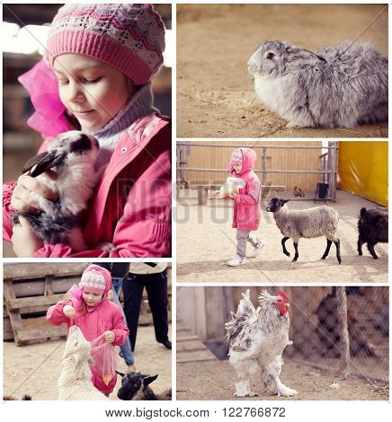 Collage of little girl on a farm with animals.
