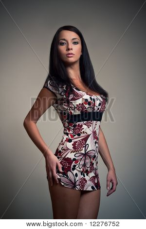 Brunet Girl In colorful dress