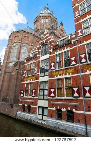 Amsterdam-April 27: St. Nicolas church back side on April 272015 in Amsterdam the Netherlands.